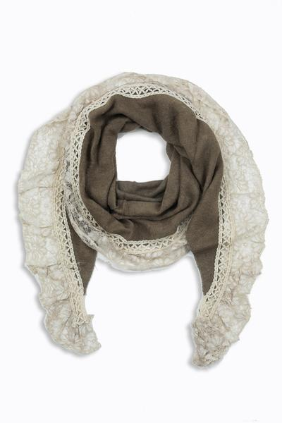 Aurelia Lace Trim Scarf Brown