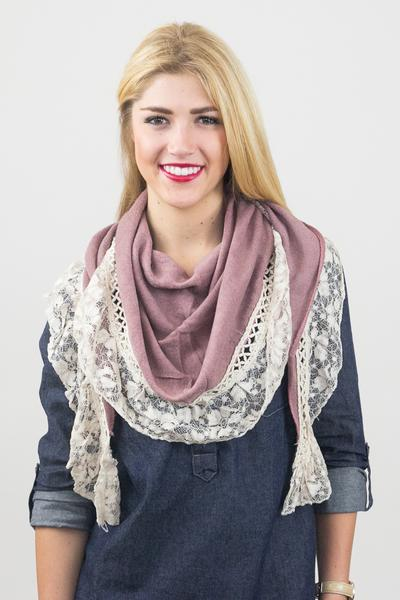 Aurelia Lace Trim Scarf Pink With Model