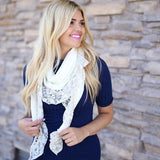 Aurelia Lace Trim Scarf Cream With Model