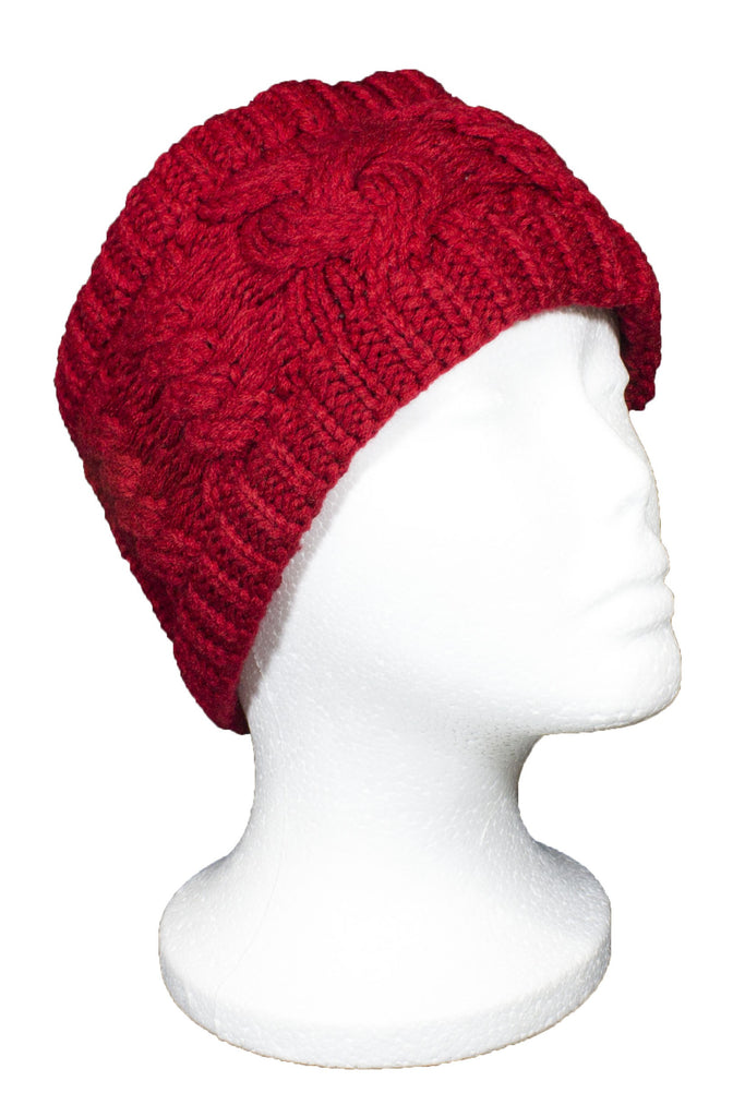 Beckham Cable Knit Headband Red