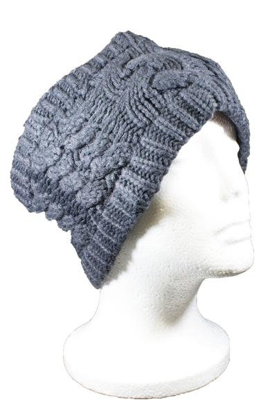 Beckham Cable Knit Headband Dark Grey