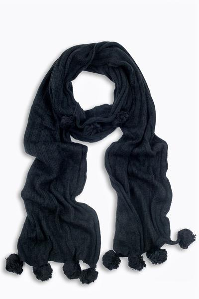 Blair Knit Pom Pom Scarf Black