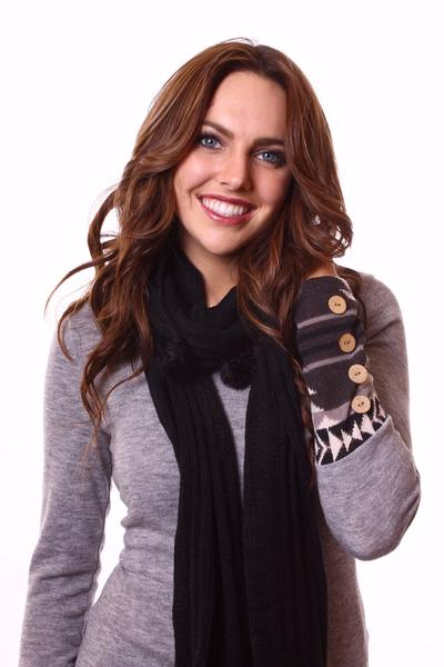 Blair Knit Pom Pom Scarf Black With Model