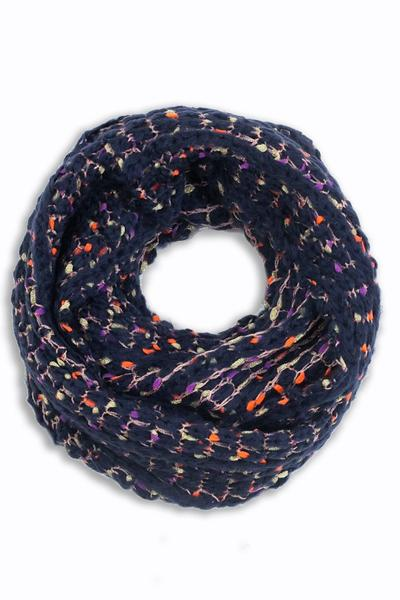 Blanche Colorful Crochet Infinity Scarf Navy / Blue