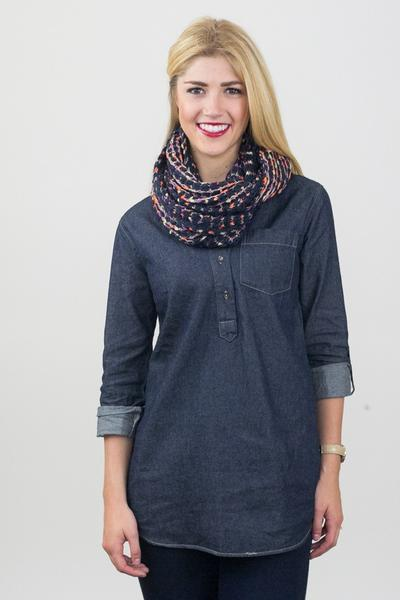 Blanche Colorful Crochet Infinity Scarf Navy / Blue With Model