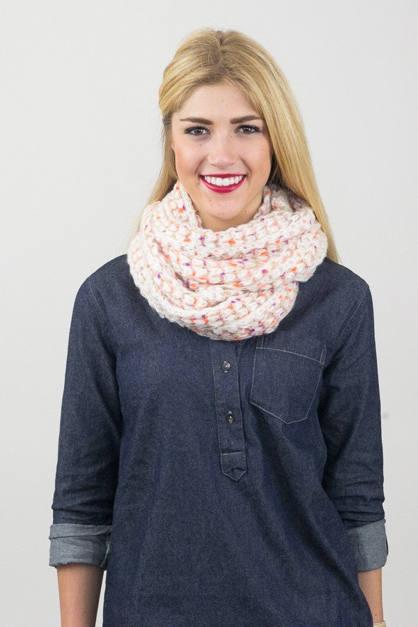 Blanche Colorful Crochet Infinity Scarf White