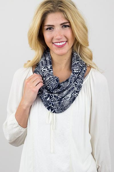 Candace Nordic Infinity Scarf Blue With Model