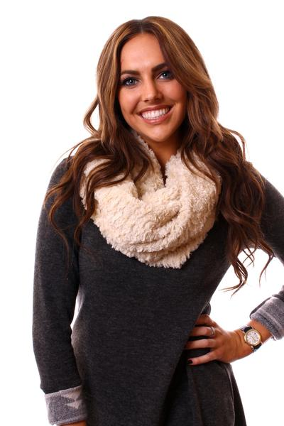 Carolee Infinity Scarf Beige With Model