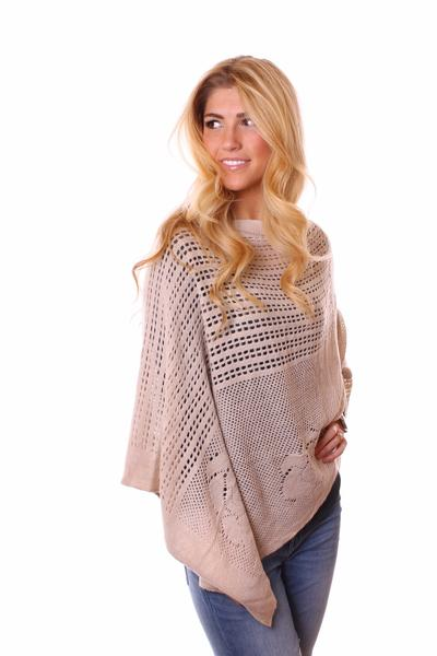Catherine Floral Knit Poncho Beige With Model