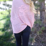 Catherine Floral Knit Poncho Pink