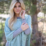 Catherine Floral Knit Poncho Mint Green With Model