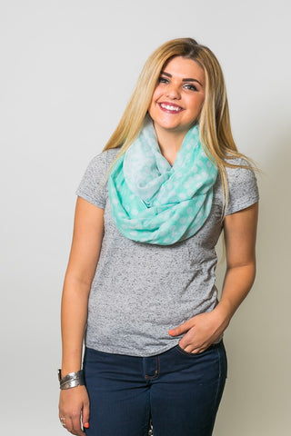 Charlotte Polka Dot Infinity Scarf Mint With Model