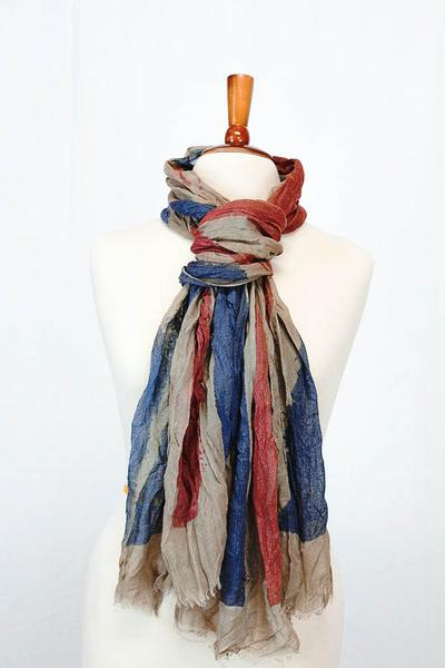 Crystal Painted British Flag Scarf Brown Multi