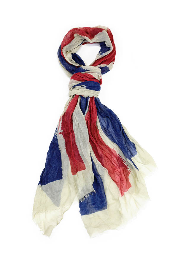 Crystal Painted British Flag Scarf White Multi