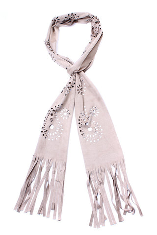 Cut Out Fringe Scarf Beige