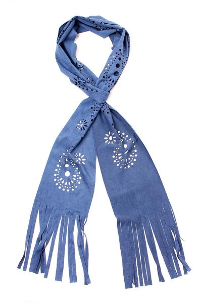 Cut Out Fringe Scarf Blue