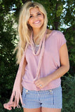 Cut Out Fringe Scarf Pink With Model