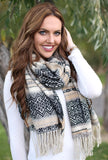 Cynthia Southwestern Blanket Scarf With Model