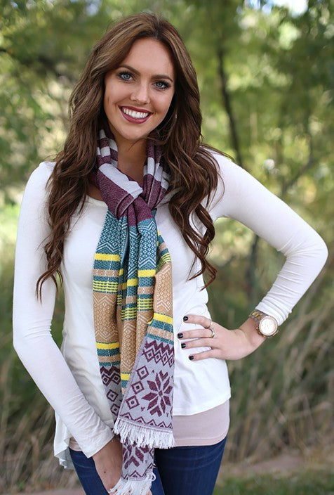 Darlene Snowflake Blanket Scarf Burgundy With Model
