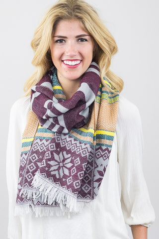 Darlene Snowflake Blanket Scarf Burgundy With Woman