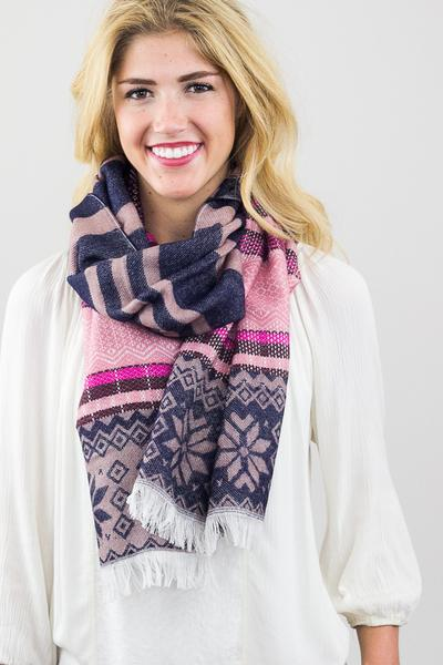 Darlene Snowflake Blanket Scarf Purple With Model