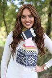 Darlene Snowflake Blanket Scarf Navy With Model