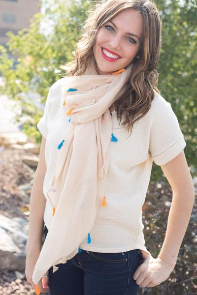 Dawn Solid Color Tassel Scarf Beige With Model