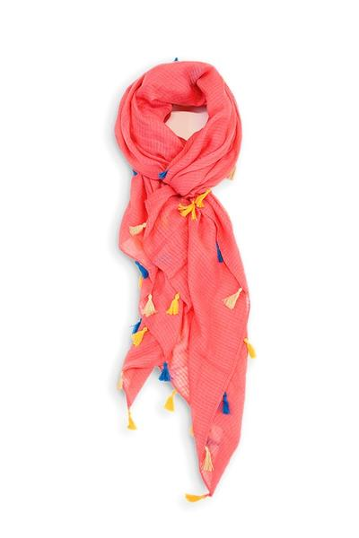 Dawn Solid Color Tassel Scarf Coral