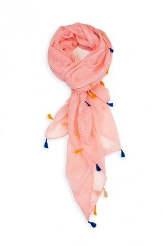 Dawn Solid Color Tassel Scarf Pink