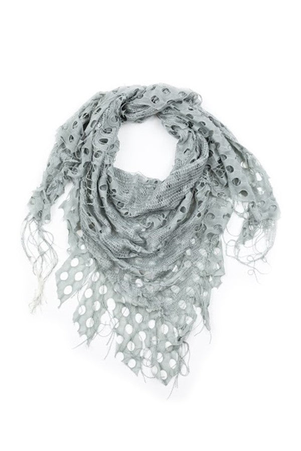 Delilah Textured Triangle Scarf Grey