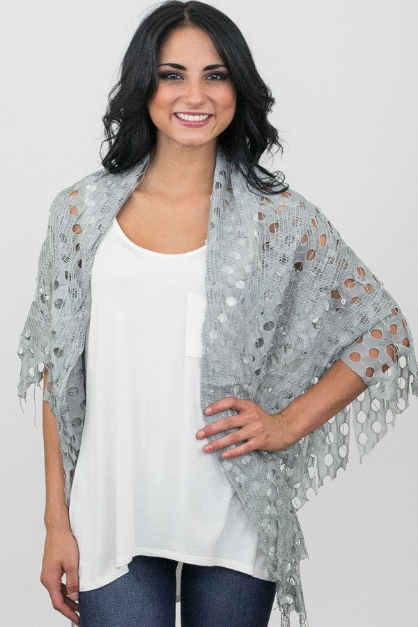 Delilah Textured Triangle Scarf Grey With Model