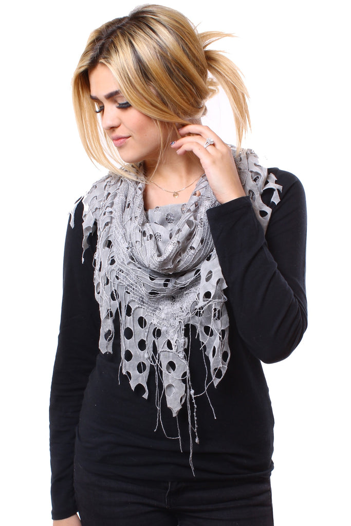 Delilah Textured Triangle Scarf Grey With Girl
