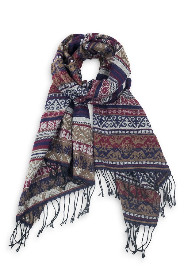 Dolly Southwestern Blanket Scarf Navy