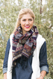 Dolly Southwestern Blanket Scarf Navy With Model