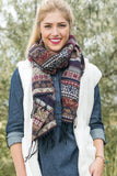Dolly Southwestern Blanket Scarf Navy With Lady