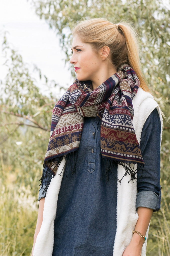Dolly Southwestern Blanket Scarf Navy With Girl