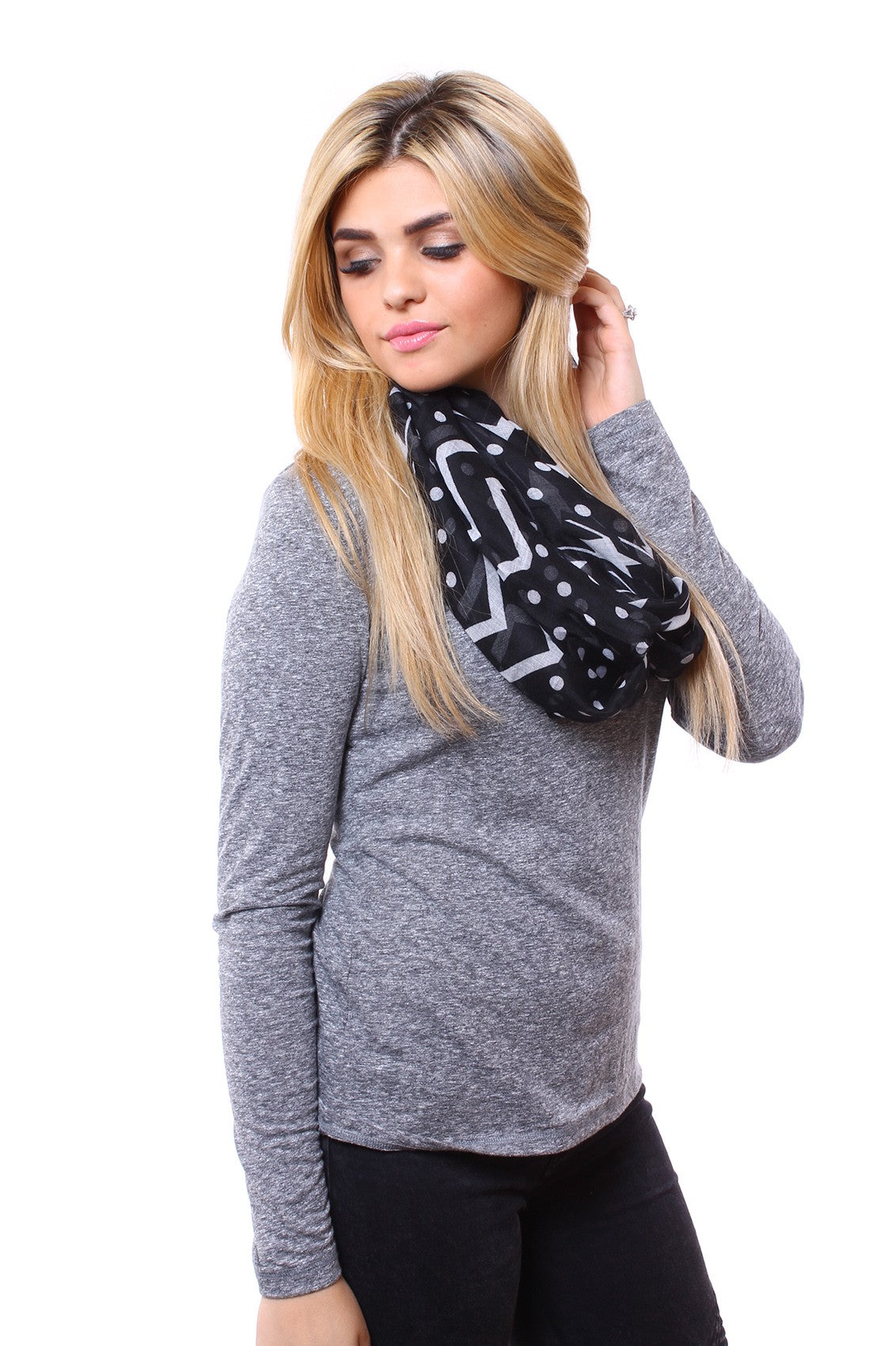 Echo Geo Print Scarf Black With Model