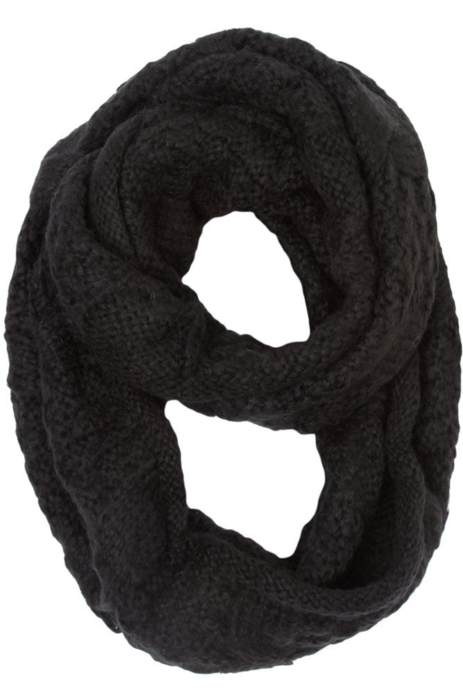 Elaina Cable Knit Circle Scarf Black