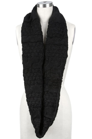 Elaina Cable Knit Circle Scarf Black on Mannequin
