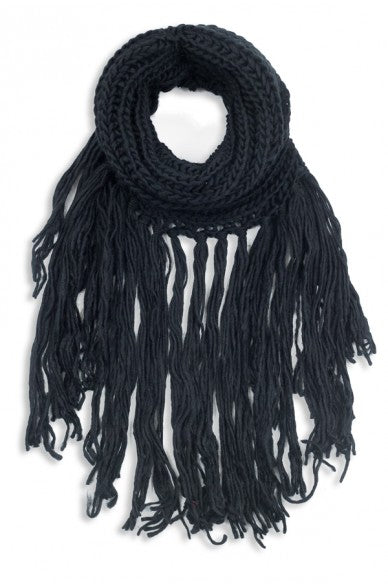 Eloise Cozy Finged Scarf Black