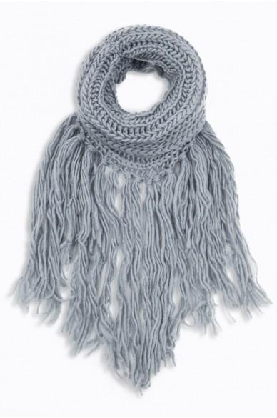 Eloise Cozy Finged Scarf Grey