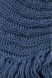 Eloise Cozy Finged Scarf Navy