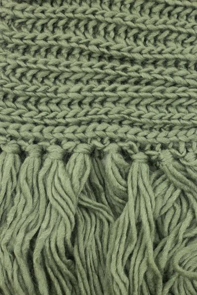 Eloise Cozy Finged Scarf Olive Green