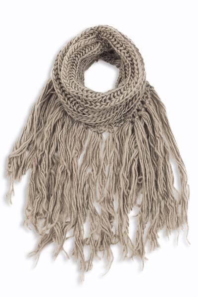 Eloise Cozy Finged Scarf Taupe