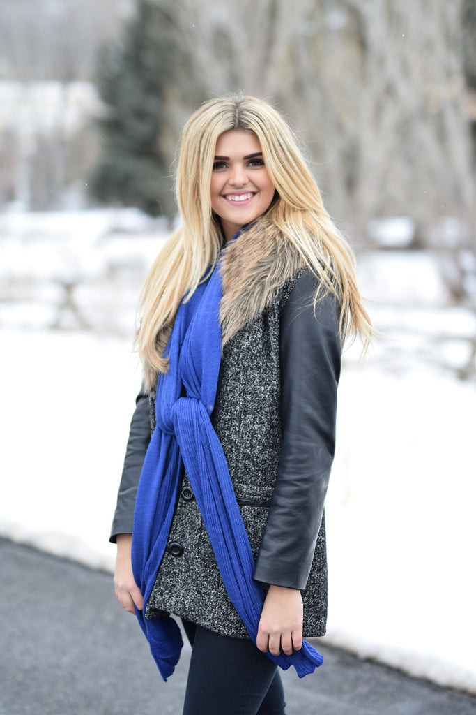 Gilly Neck Scarf Royal Blue With Model