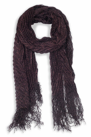 Glinda Metallic Accordion Scarf Brown