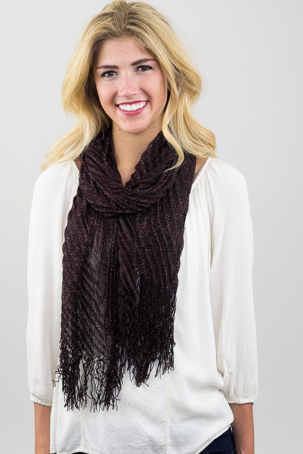 Glinda Metallic Accordion Scarf Brown With Model