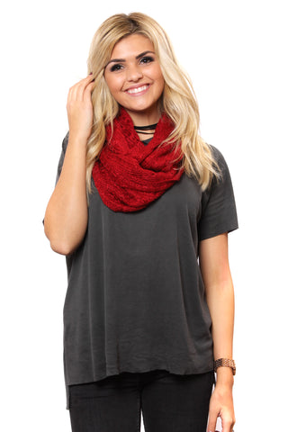 Hadley Knit Scarf Burgundy With Model