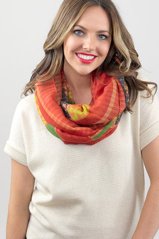 Hazel Multi Print Infinity Scarf Rust With Model