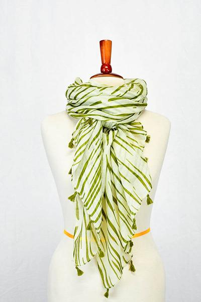 Iris Striped Tassel Scarf Green